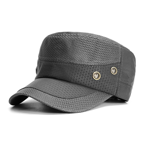 Men Mesh Breathable Military Hat Flat Top Cap Visor Hat