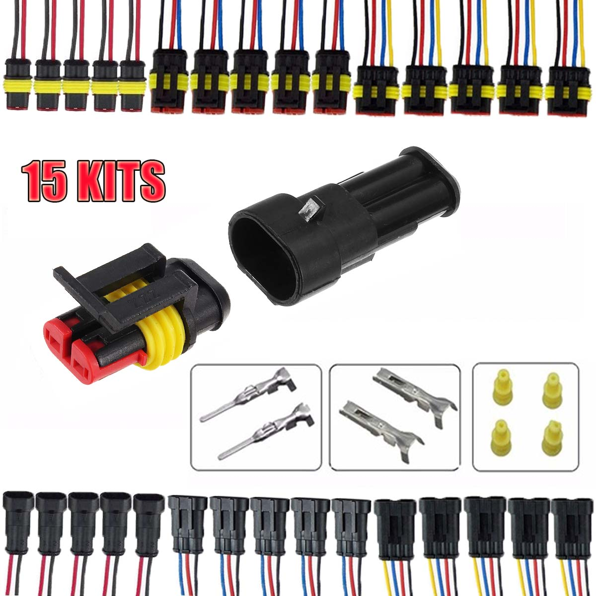 15 Kits 2 3 4 Pins Way Sealed Waterproof Electrical Wire Connector Plug Motorcycle Car Auto