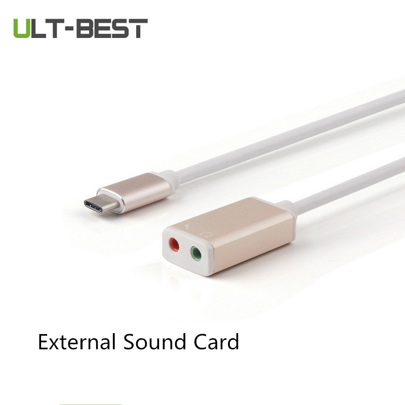 ULT-BEST USB 3.1 Type-c to Audio Port 5.1 External Sound Card Headphone Converter