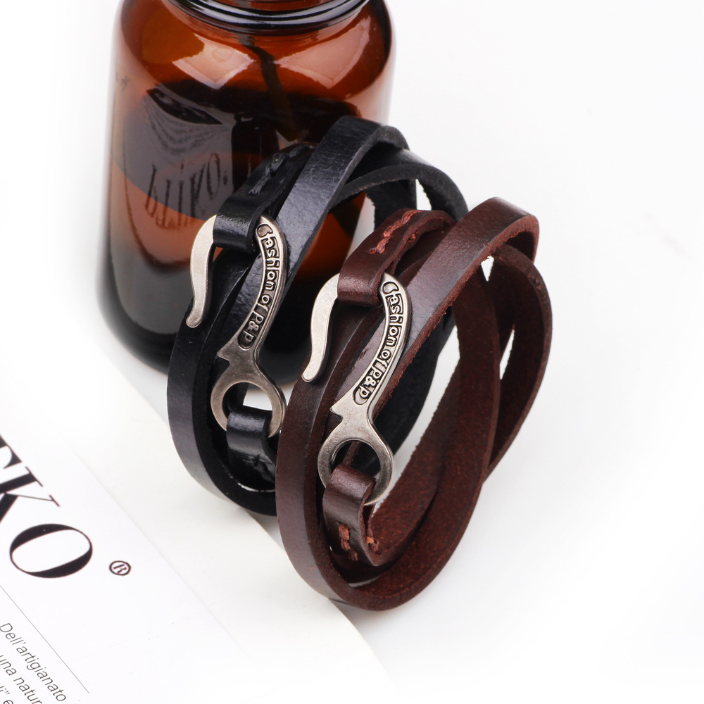 Vintage Retro Leather Multilayers Adjustable Fashion Women Men Bracelet