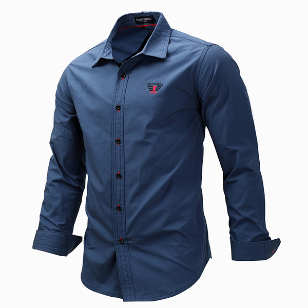 Business Casual Long Sleeves Cotton Solid Color Button Up Dress Shirt for Men