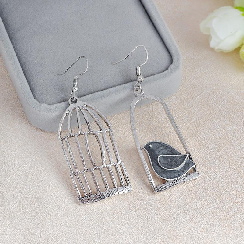 Blue Grey Bird Birdcage Fashion Asymmetric Women Earrings