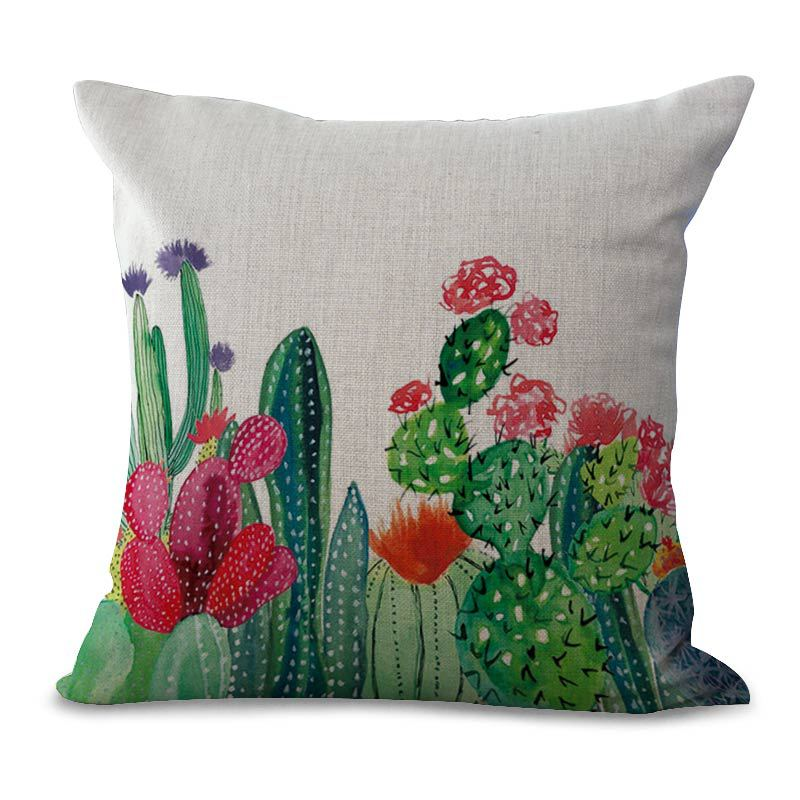 Honana 45x45cm Home Decoration Cactus Printed 5 Optional Patterns Cotton Linen Pillowcases Sofa Cushion Cover