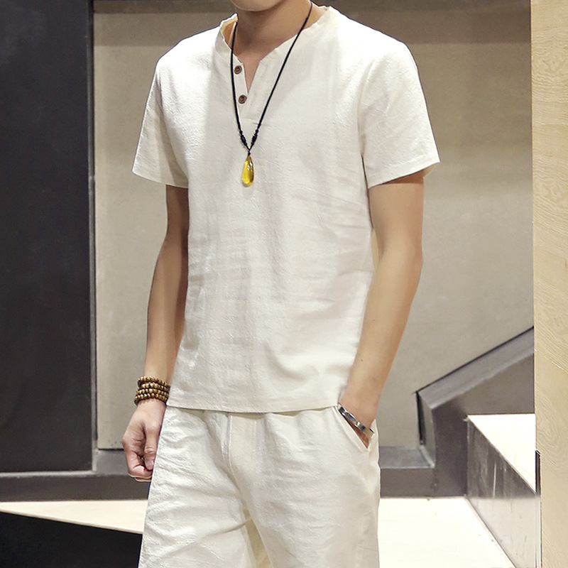 Mens Solid Color Linen Button Casual Thin Retro Summer Short Sleeves T-shirt