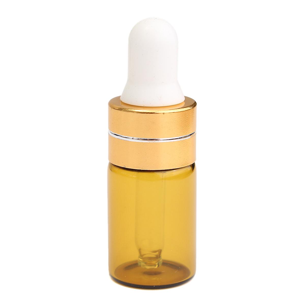 10pcs Empty Essential Oil Refillable Bottles 3ml Amber Glass Dropper Travel Vials Skin Care Tools