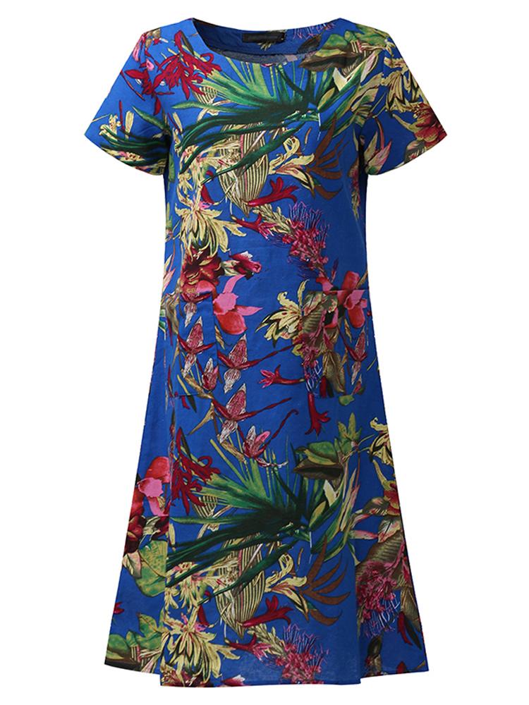 Casual Women Floral Printed Short Sleeve Summer Pocket Dress