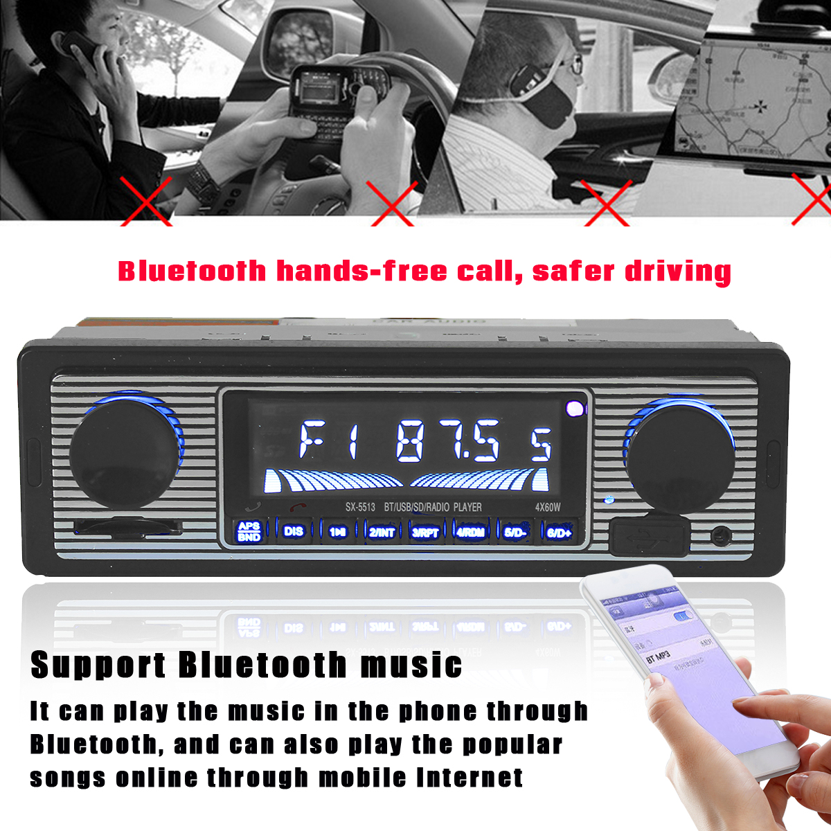 bluetooth Microphone Hands Free MP3 Player USB AUX Car Stereo FM Radio In Dash Receiver