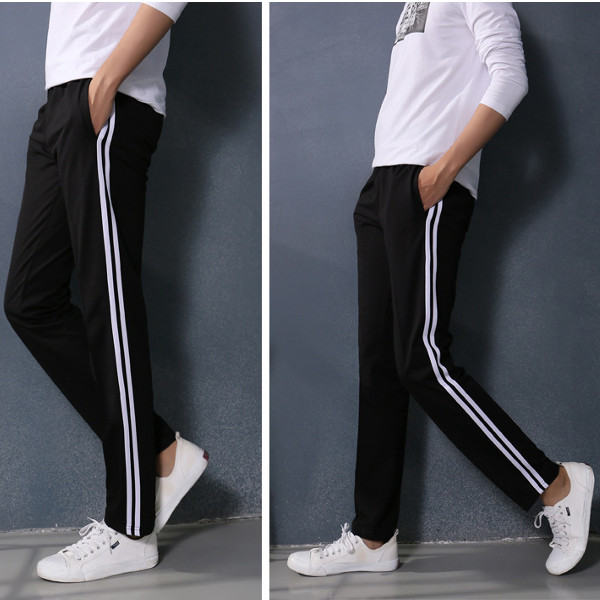 Fashion Mens Casual Solid Color Pants Cotton Straight Tether Trousers