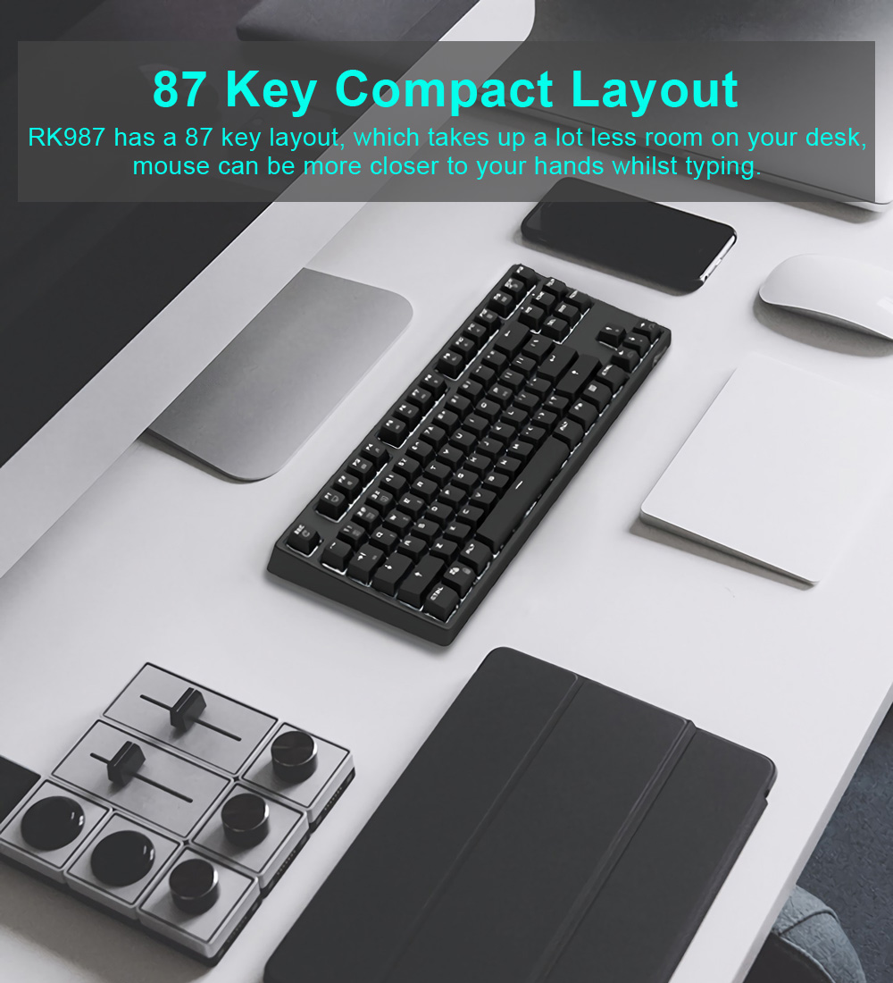 Royal Kludge RK 987 2.4GHz Wireless & Wired Dual Mode White Backlit Mechanical Gaming Keyboard