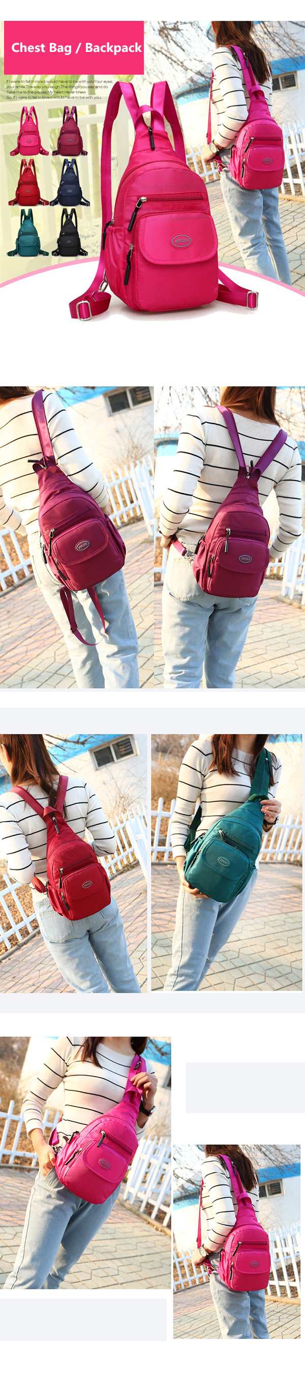 Women Nylon Light Chest Bags Outdoor Sports Shoulder Bags