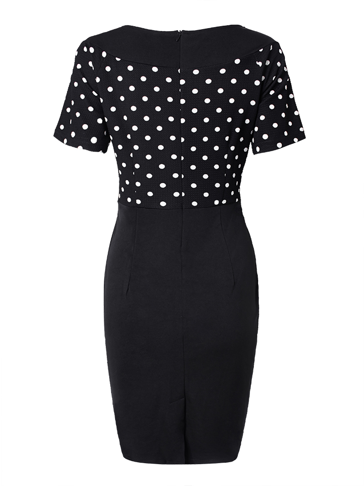 Casual Women Scoop Neck Short Sleeve Polka Dot Dress