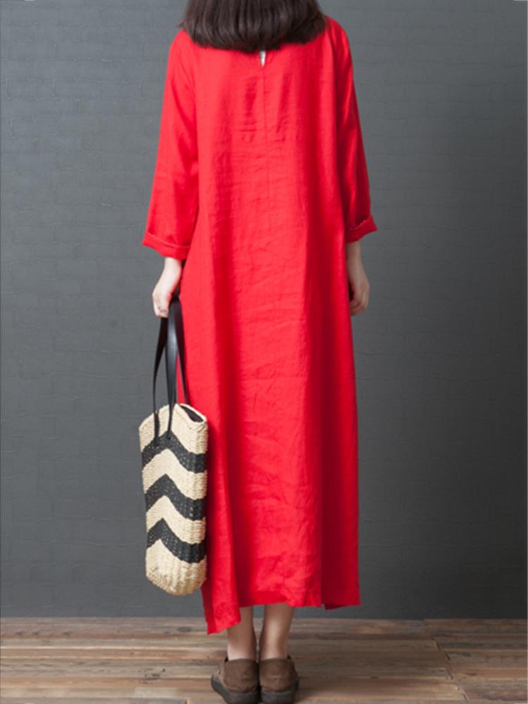 Vintage Women Linen Loose Pure Color Long Sleeve Dress