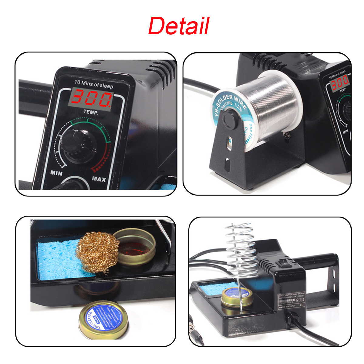 60W WEP Solder Iron Rework Station Variable Temperature LED Display + Gun Stand
