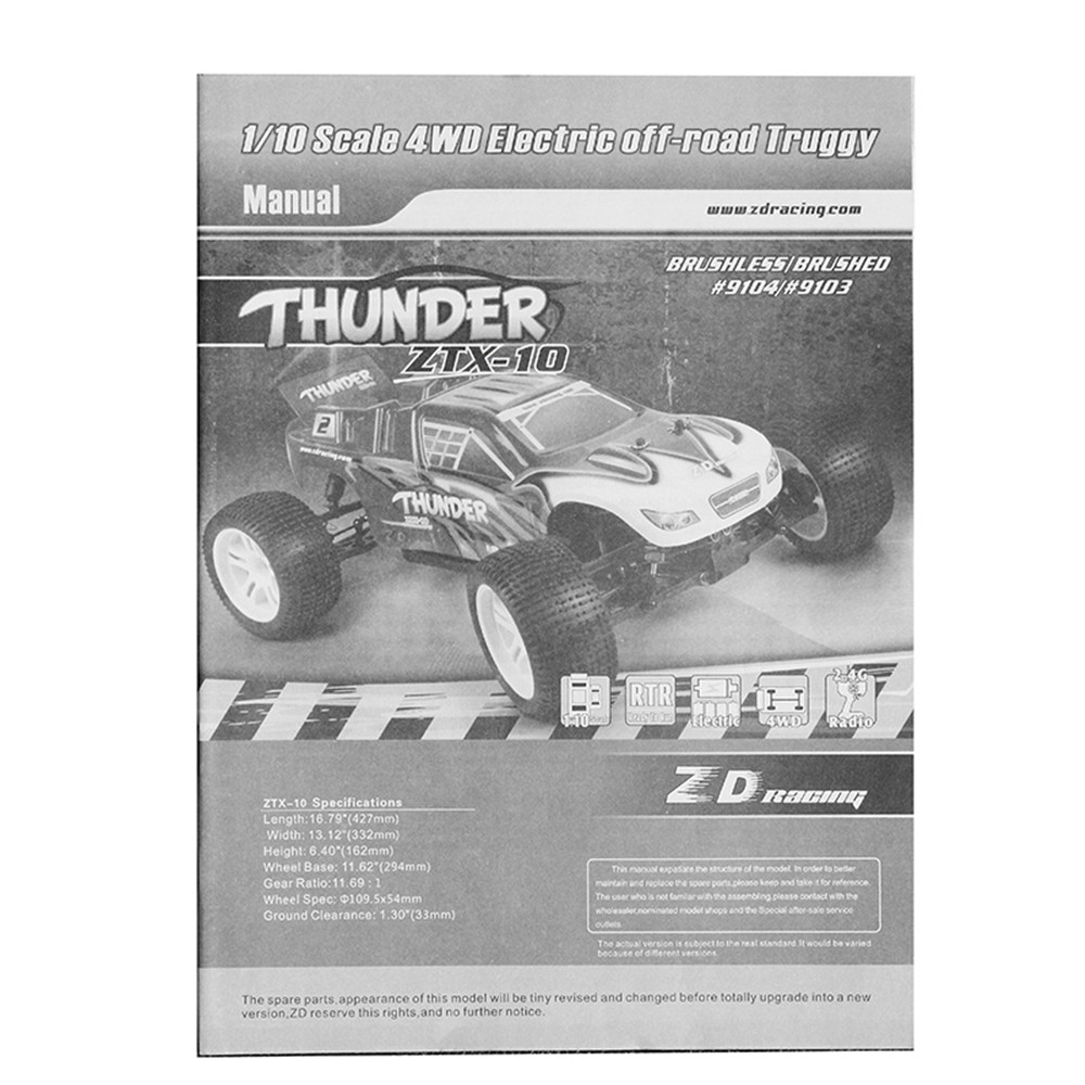 ZD Racing 9104 Thunder ZTX-10 1/10 2.4G 4WD Rc Truggy DIY Car Kit Without Electronic Parts - Photo: 12