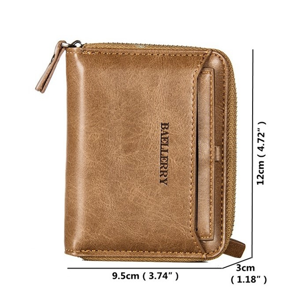 Vintage PU Leather Short Zipper Card Holder Wallet For Men