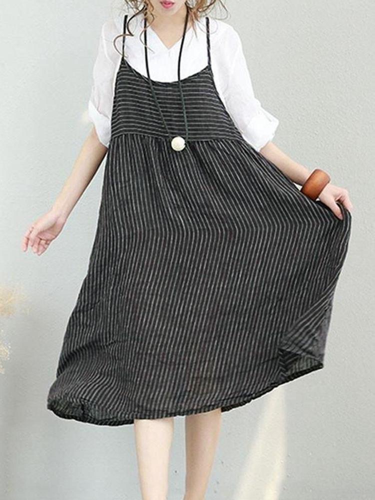 M-5XL Women Stripe Strap Mid-long Dress