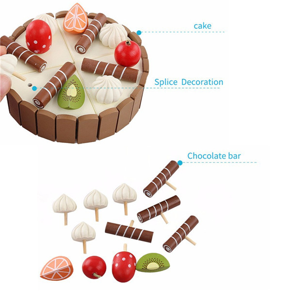 Kids Wooden Magnetic Pretend Play Cutting Food Cake Toy Kitchen Play Set Gift