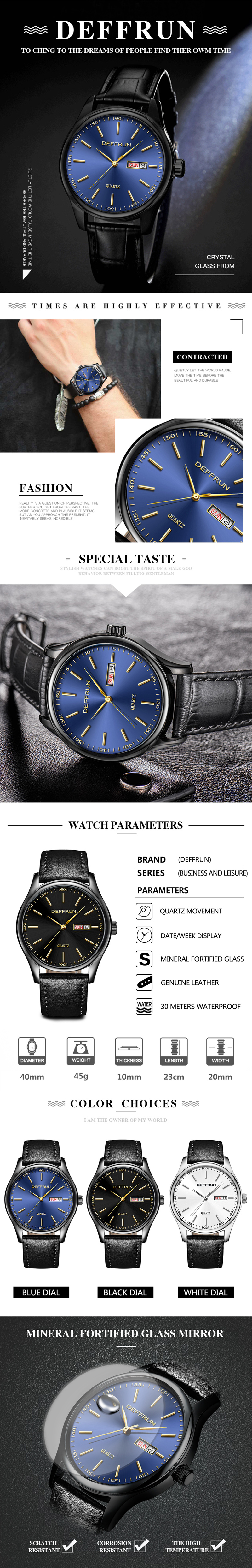 DEFFRUN DQ0006 Calendar Casual Style Leather Strap Men Watch