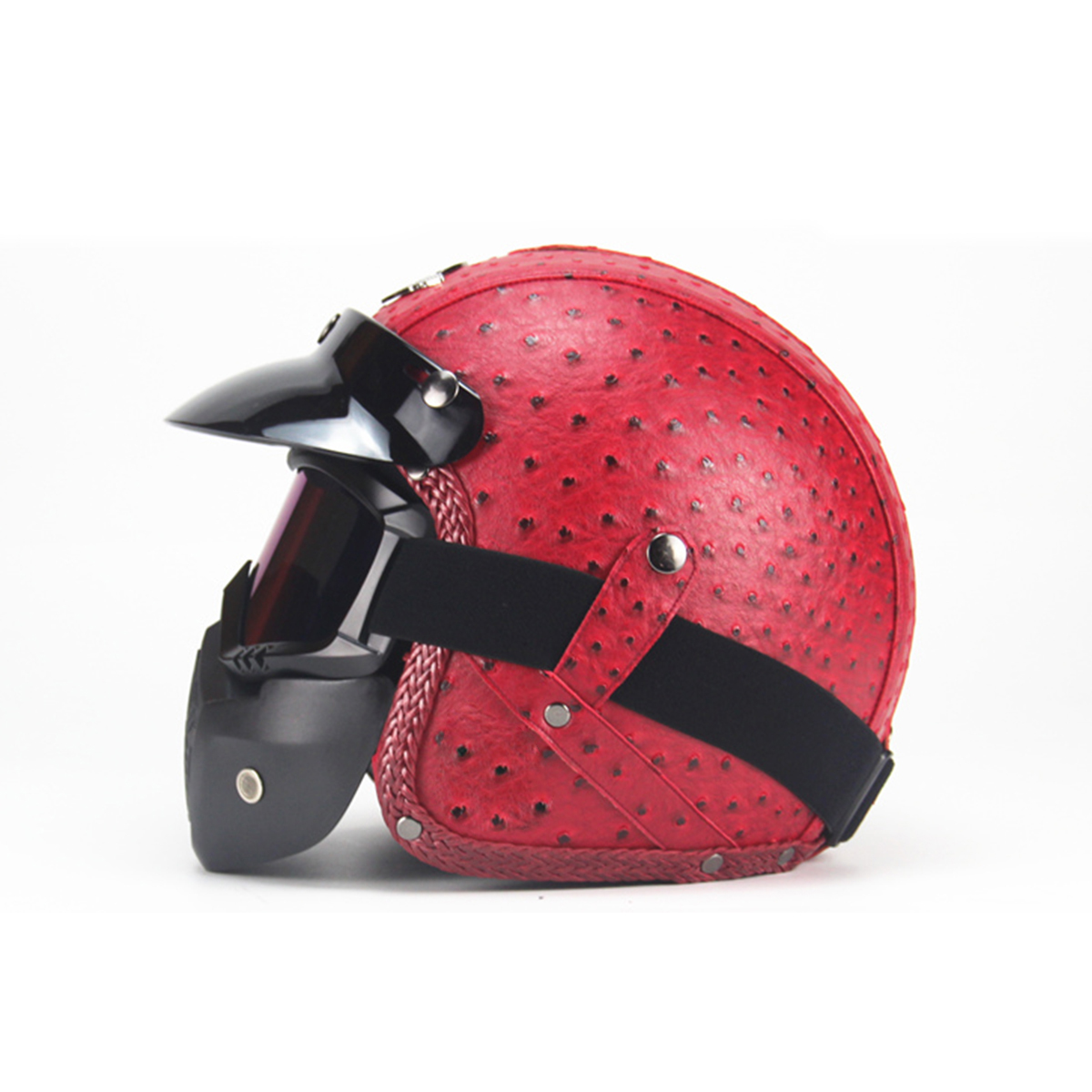 Vintage Motorcycle Leather Helmet Half Open Face Motorbike Visor Scooter With Mask Goggles
