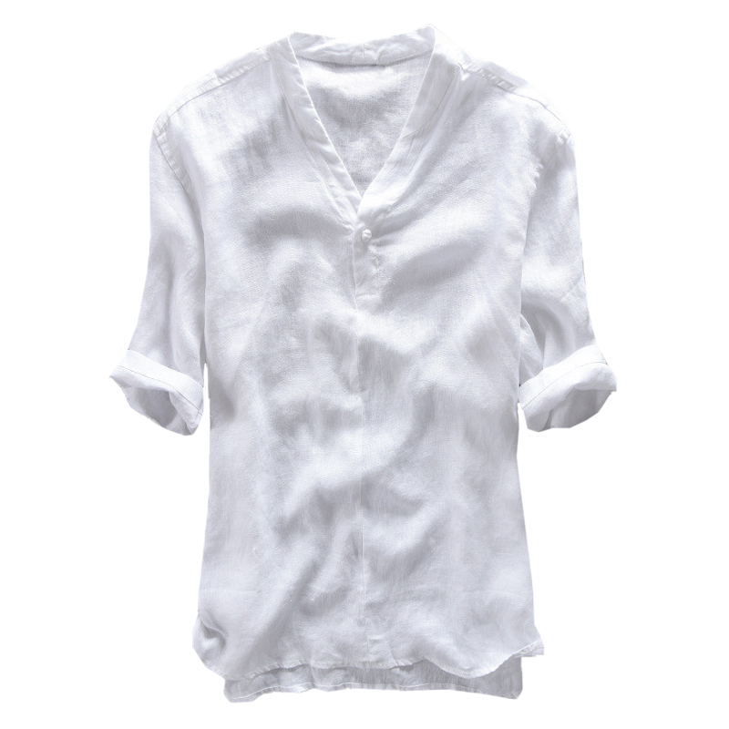 Vintage Chinese Style Cotton Breathable V-neck Plain Casual