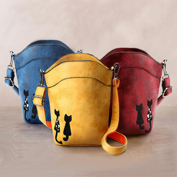 6'' Cute Cat Phone Bag Women Mini Crossbody Bag PU Leather Bucket Bag