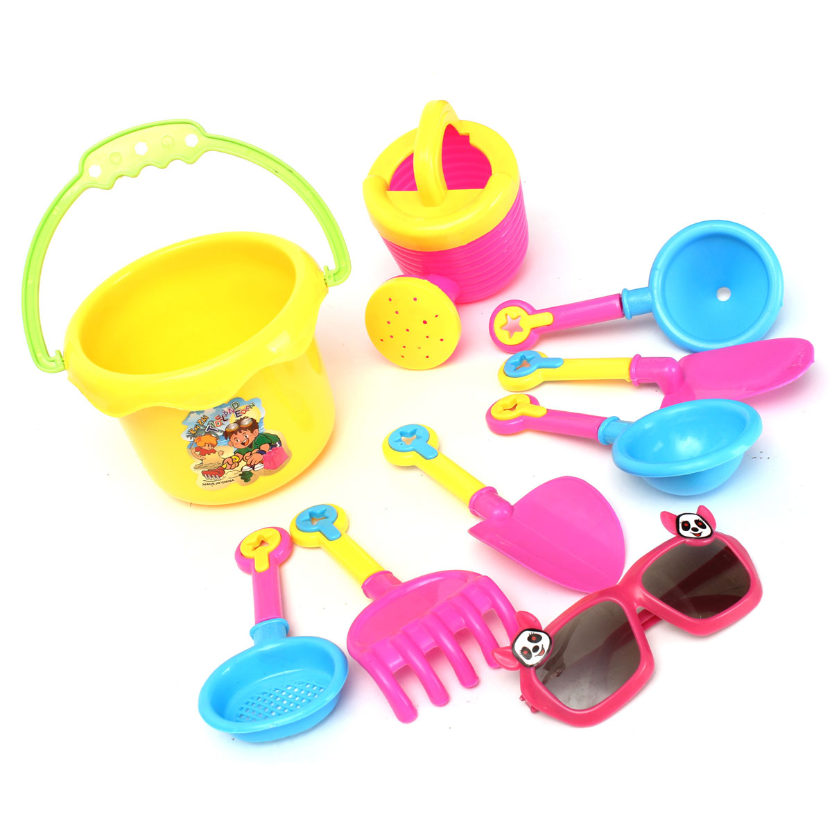 9Pcs Seaside Sand Sunglasses Spade Shovel Beach Play Water Tools Kids Toy Set