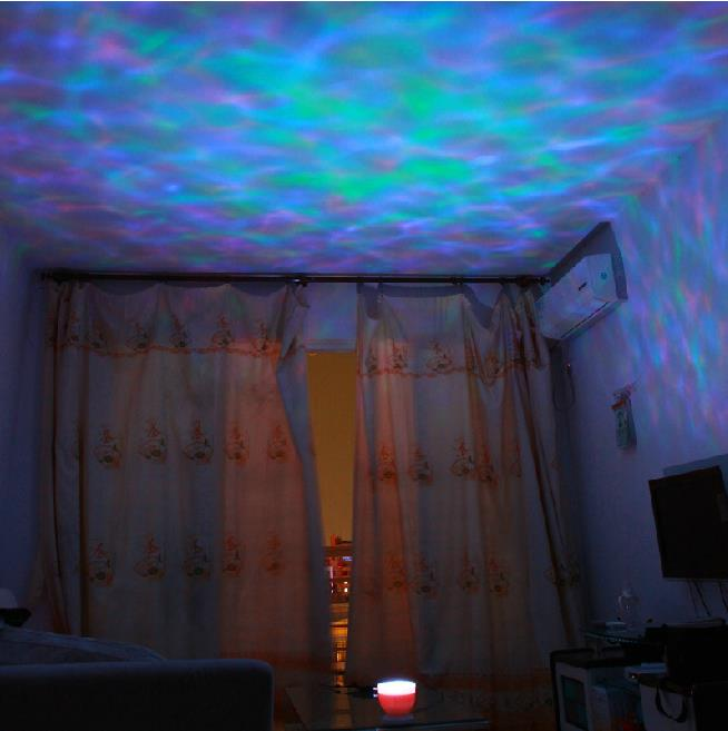 Colorful Led Aurora Ocean Waves Projector Music Night Light Lamp