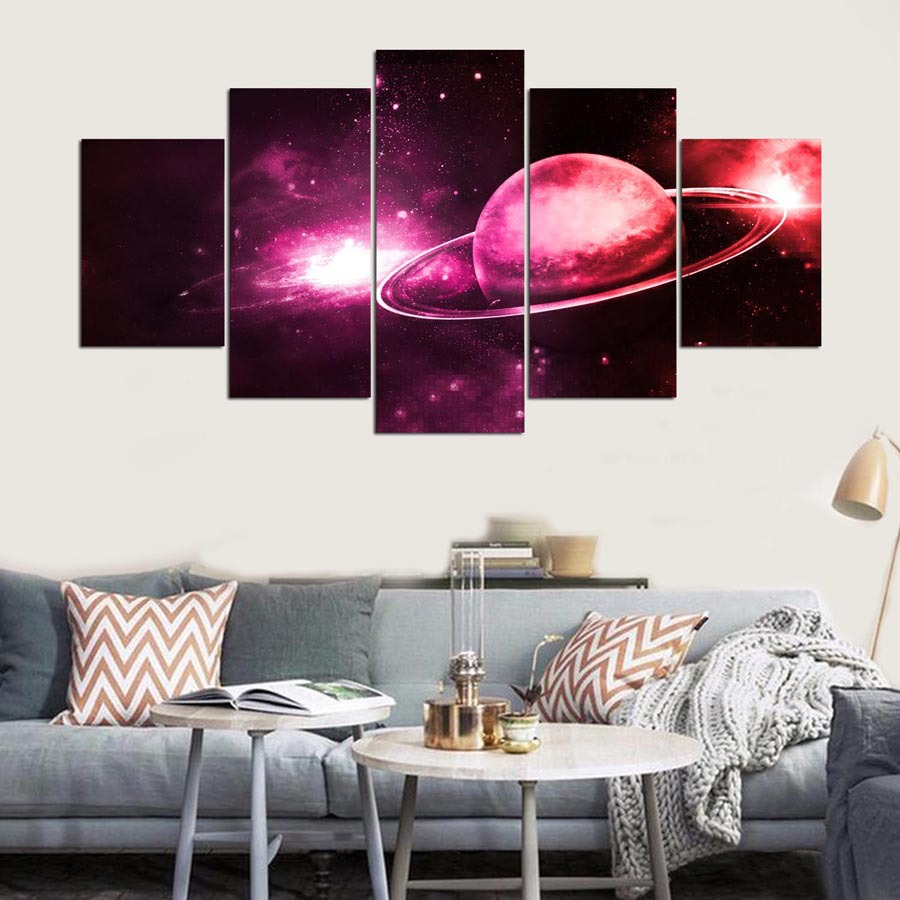 5 Cascade Red Planet Canvas Wall Painting Picture Home Decoration Without Frame Including Installat
