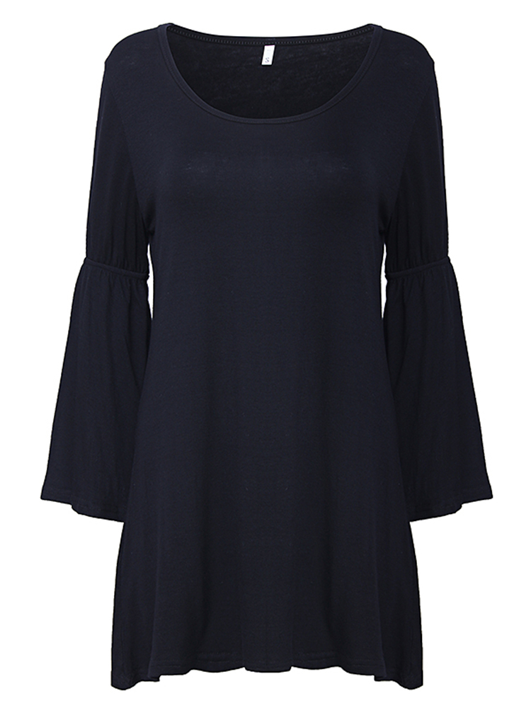 Casual Sexy Solid Color O-Neck Speaker Sleeve Women Mini Dress