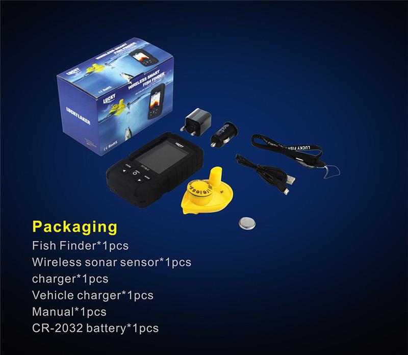 Lucky FF718LiC-W 45M/147Feet Sonar Depth Wireless Fish Finder Color Screen Waterproof Finder