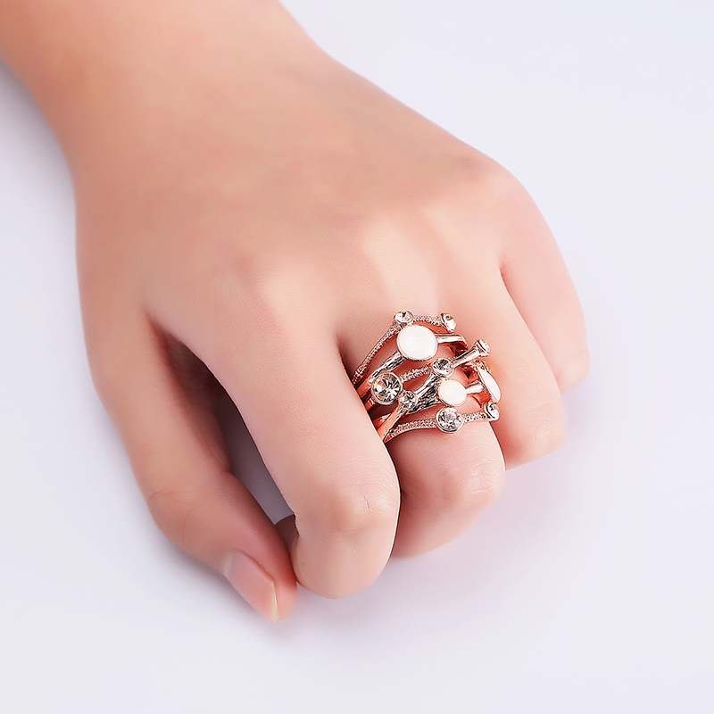Irregular Interlaced Line Rose Gold Opal Ring Clothing Accessories Fashion Women Jewelry