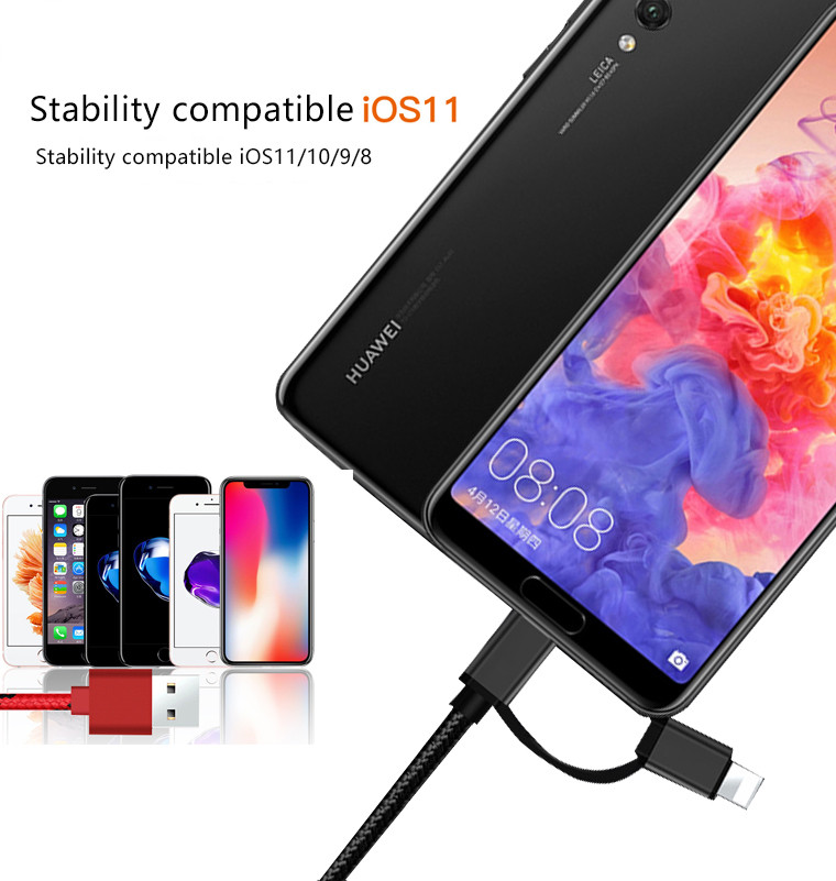 Bakeey 2 in 1 Type-C Lightning for Fast Charging Phone Data Cable for iPhone S8 X Xiaomi