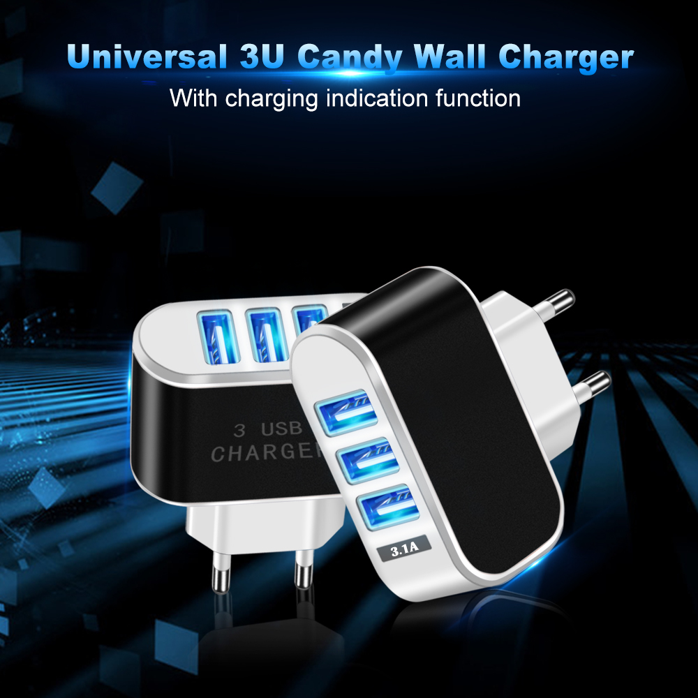 OLAF 3.1A 3 USB Ports Fast Charging Charger EU Plug Adapter For iPhone X Xs XR Max HUAWEI P30 Xiaomi Mi8 Mi9 Pocophone S9 Note S10 S10+