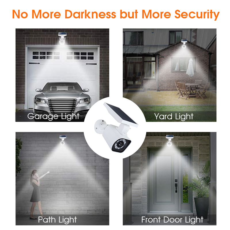 1000LM 5W 8 LED Solar Power LED Light Dummy Security Camera Wall Lamp Motion Sensor IP66