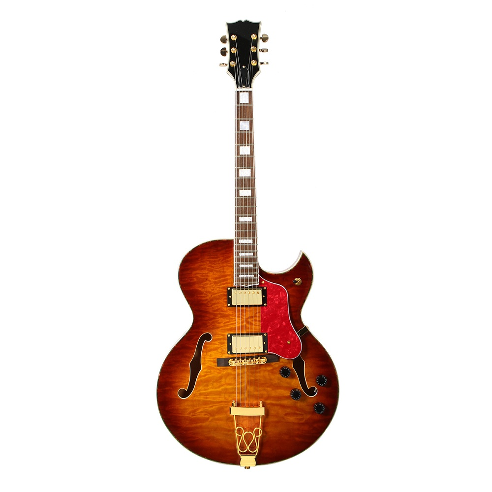 22 Frets Laminate Mahogany Hollow Body Electric Guitar 5A Quilted Maple Top Jazz Guitar Music Instru
