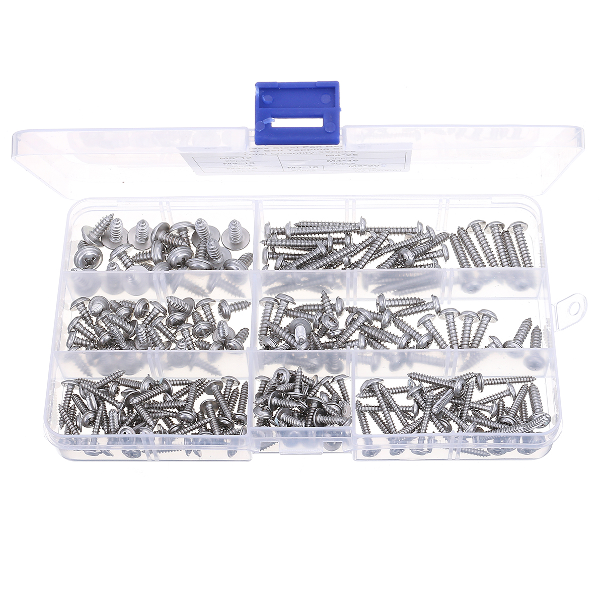 Suleve™ MXSP5 220pcs M3/M4/M5 Stainless Steel 304 Pan Head Phillip Trapper Self Trapping Screw