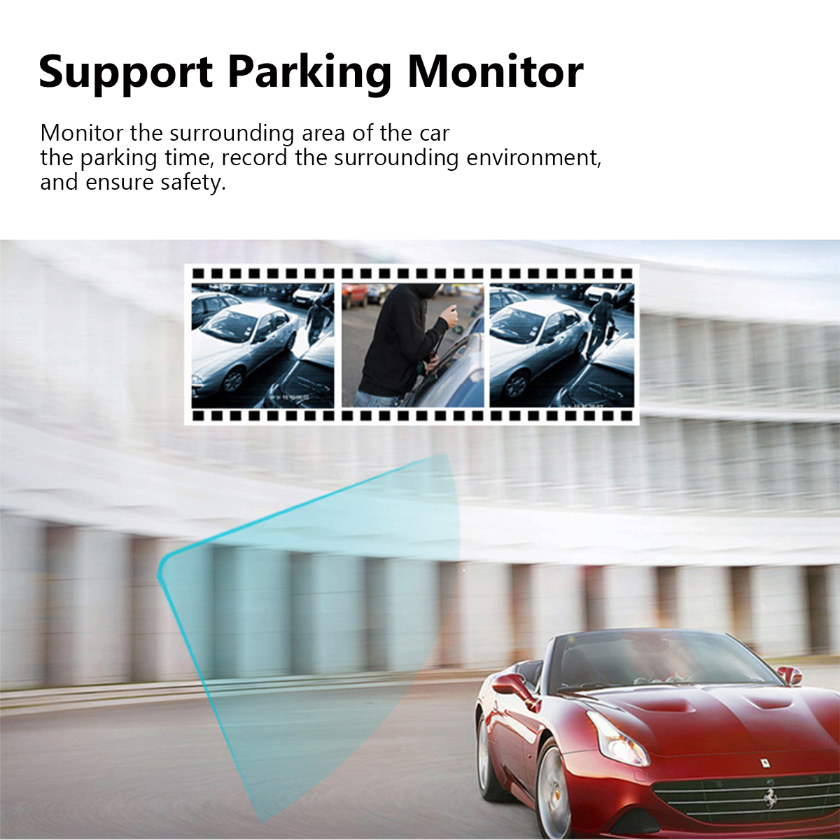 4 Inch FHD 1080P Car DVR 3 Camera Lens Dash Cam Video Recorder Rearview Monitor
