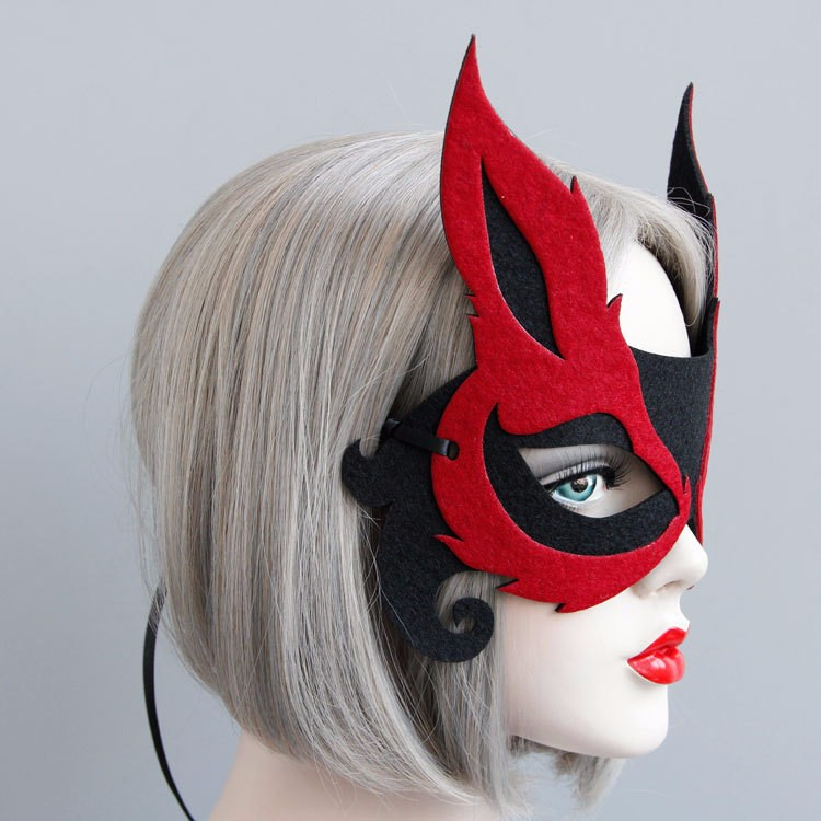Red Devil Mask Cosplay Felt Cloth Ribbon Masquerade Mask