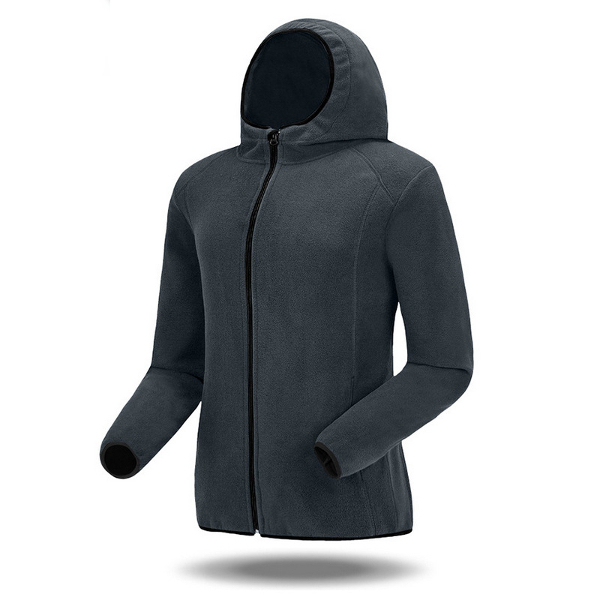 Mens Casual Hooded Fleece Jacket Solid Color Zipper Outdoor Coat