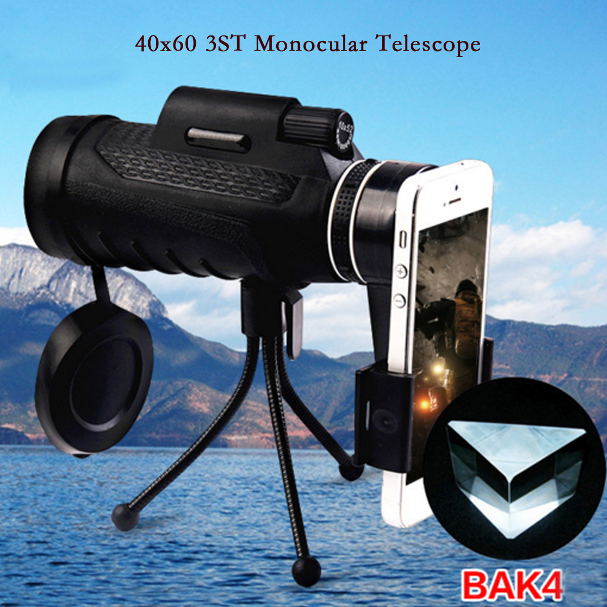 PANDA 40X60 HD Zoom Lens Camping Travel Waterproof Monocular Telescope+Tripod+Clip for Cell Phone