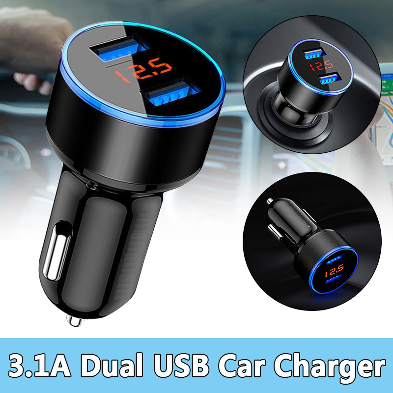 12V 24V 3.1A Dual USB Car Charger LCD Display Smart Protection