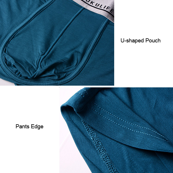 ZK Mens Sexy Modal Breathable U Convex Pouch Boxers Big Plus Size Solid Color Underwear
