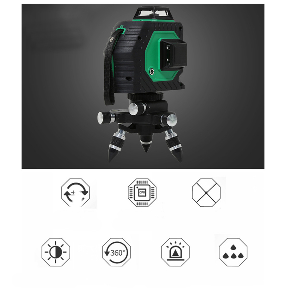 Green 3D 12 Line 360° Laser Level Auto Self Leveling Vertical Horizontal Level