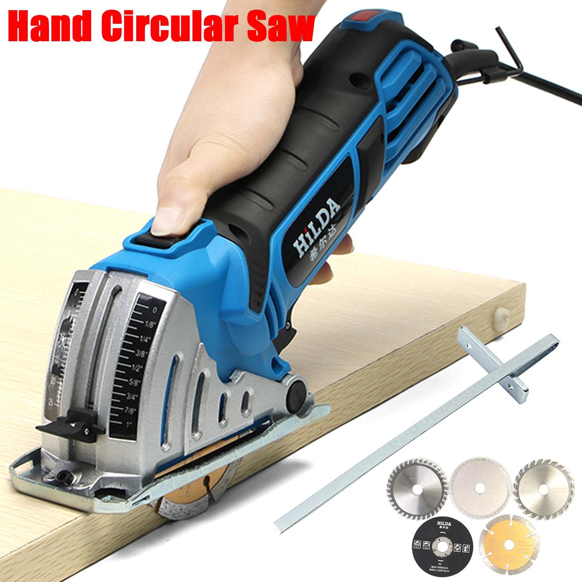 HILDA JD3522C 500W Electric Mini Circular Saw Power Saw Hand Circular Saw for Wood Power Tool