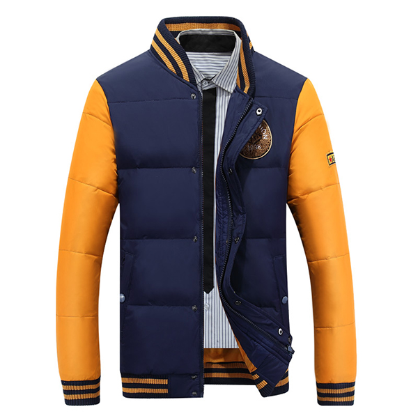 Mens Outdoor Leisure Stitching Baseball Down Coat Casual Striped Autumn Winter Contrast Color Jacket