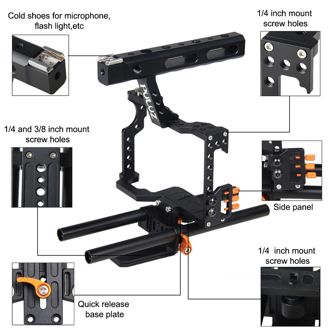 PULUZ PU3010 Camera Cage Handle Stabilizer for Sony A7 A7S A7R A7R II A7S II for Panasonic DMC-GH4