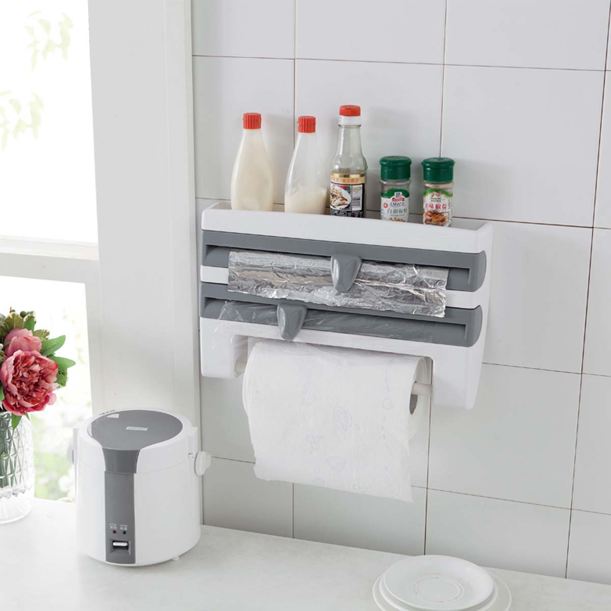 Refrigerator Cling Film Shelf With Cutting Device Storage Paper Towel Holder