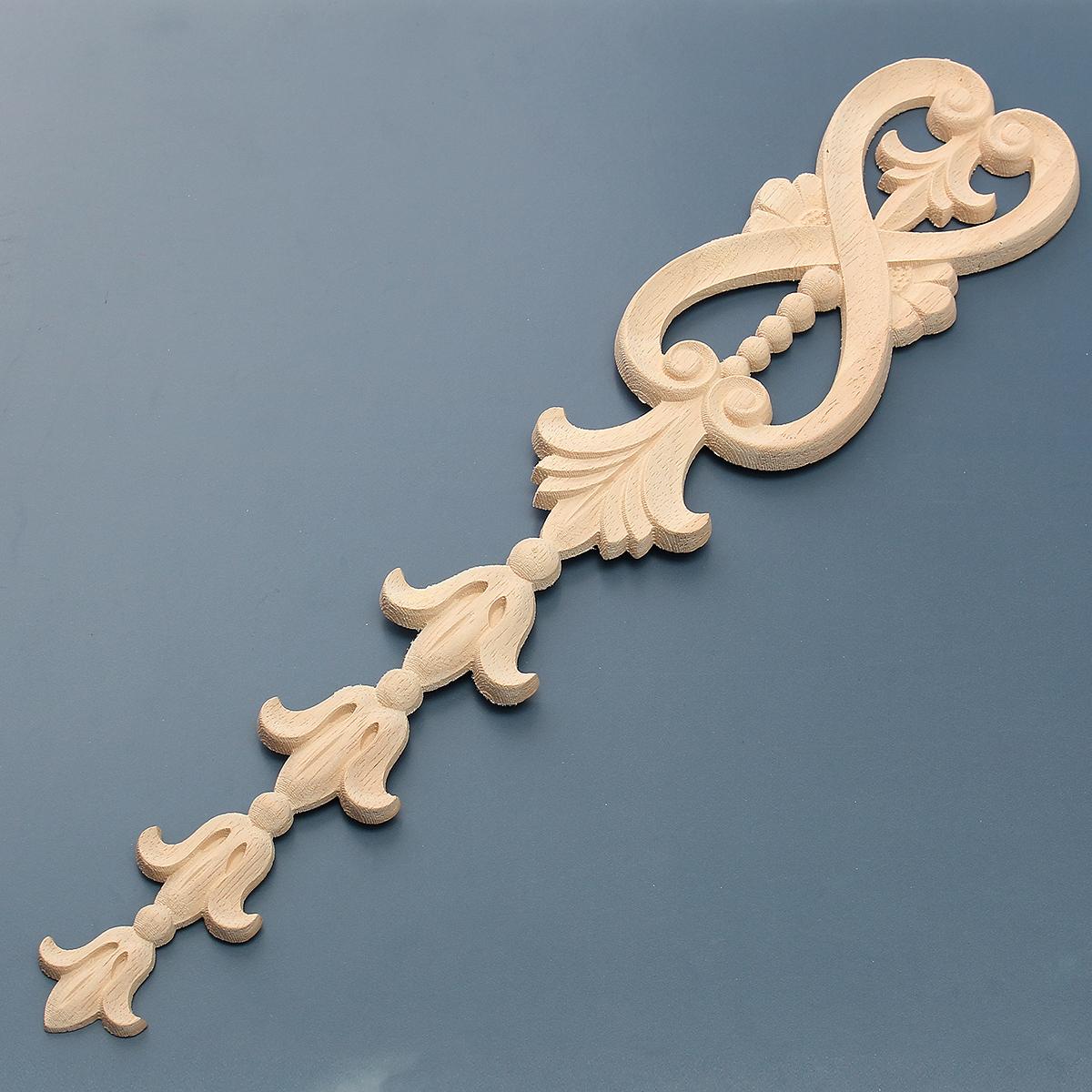 Wood Carving Applique Unpainted Flower Onlay Decal Furniture Cabinet Door Decor 36x7cm