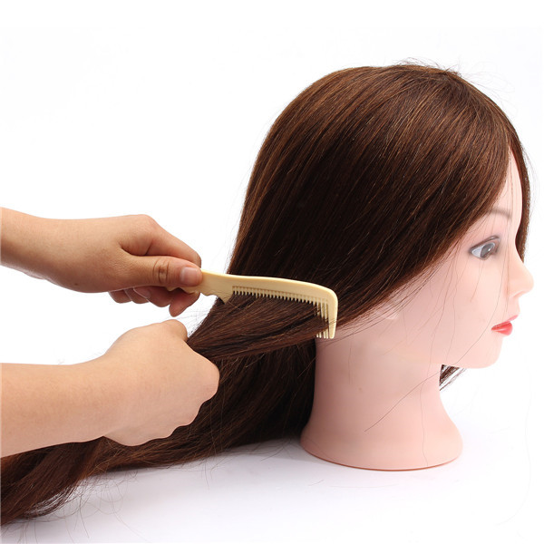 20inch Professional Real Hair Model Hairdressing Practice Training Head Mannequin and Clamp