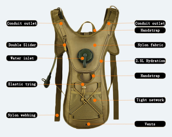 2.5L Hydration Tactical Backpack Outdoor Sports Cycling Travel Bladders Shoulders Bag